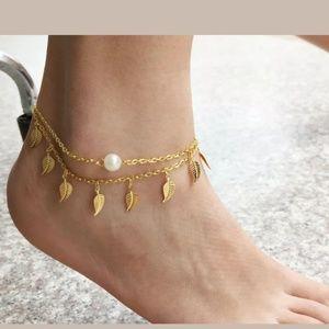 NEW! Gold Leaf Pearl Anklet Bracelet